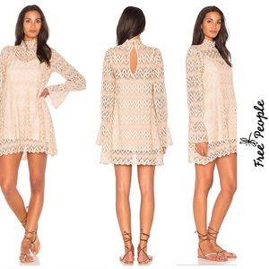 Free People Womens Simone Cream Lace Floral Dress